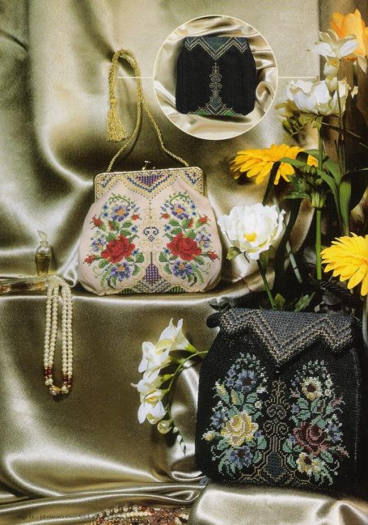 Винтажная сумочка с фермуаром - дизайн в двух вариантах - вышивка крестиком и набор бисером; с выкройкой.