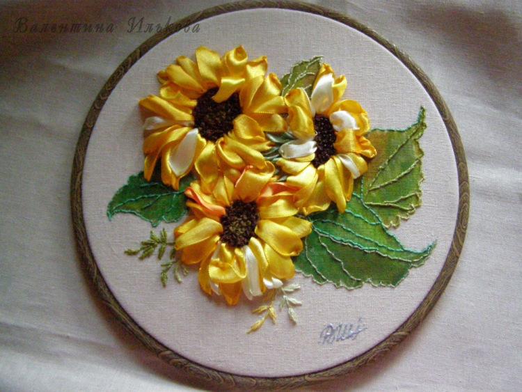 Вышивка лентами сухоцветы