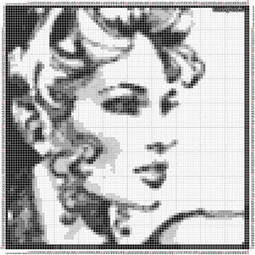 Вышивка чёрно белая крестом лицо девушки 64