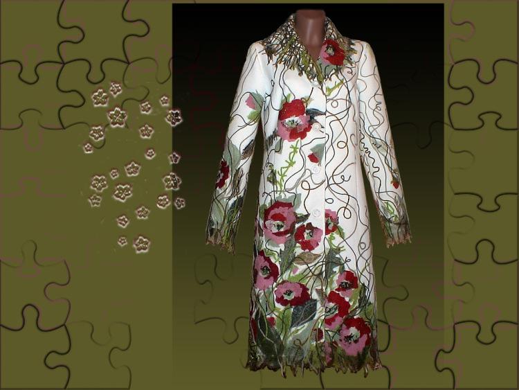 Пальто ручная вышивка - Вяжем крючком Шапки, шарфы, шляпки, береты и косынки