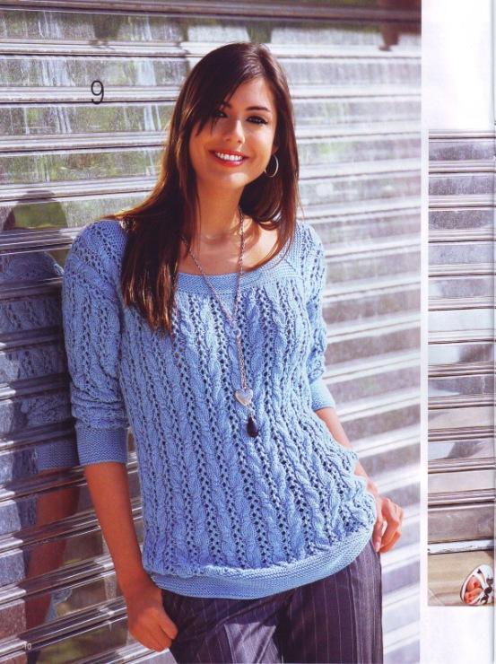 Ажурный пуловер сиреневого цвета вязаный спицами. Добавил. 117