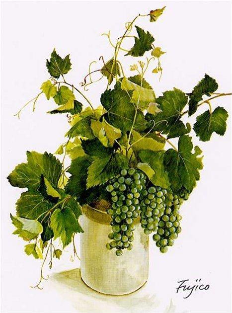 СХЕМА.  Букет винограда в вазе.  Вышивка крестом, схемы.