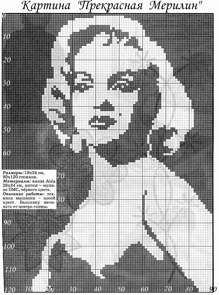 Схем вязания спицами портретов