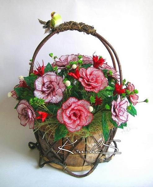 Цветы из бисера в корзине мастер класс с пошаговым фото